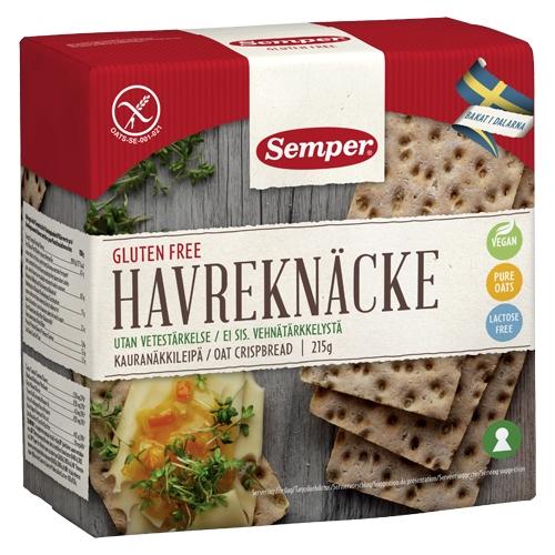 Knækbrød havre glutenfrit fra Semper - 215 gr