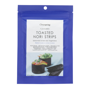 Nori snack strimler toasted fra Clearspring - 13 g