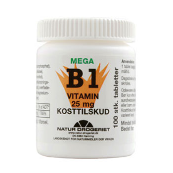 Image of   Mega B1 vitamin 25 mg - 100 tabletter