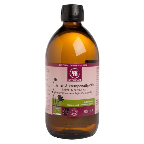 Billede af Hørfrø- & kæmpenatlysolie økologisk - 500 ml