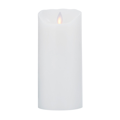 Image of LeveLys LED Stearinlys Ø8x18cm hvid glat