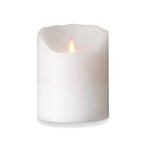 Image of LeveLys LED Stearinlys Ø8x10 cm Hvid Frostet