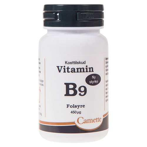 Image of   Camette vitamin B9 folsyre 90 tab. (450 µg.)