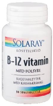 Image of   B 12 vitamin med folsyre - 90 sugetabletter