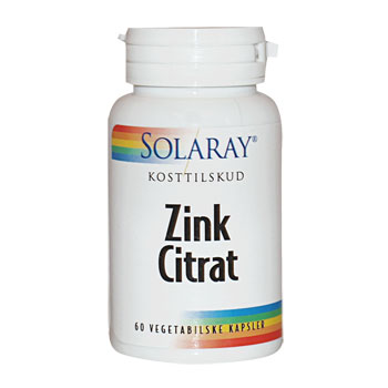 Zink Citrat 20 mg Solaray - 60 kapsler
