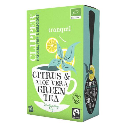 Clipper grøn te-aloevera økologisk - 20 breve