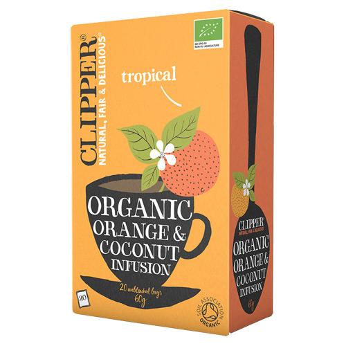 Clipper Orange & Coconut te økologisk - 20 breve