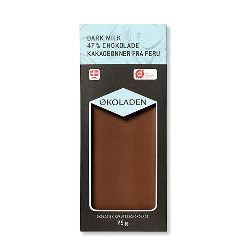 Image of   Økoladen Chokolade mørk mælk 47% Ø (75 g)