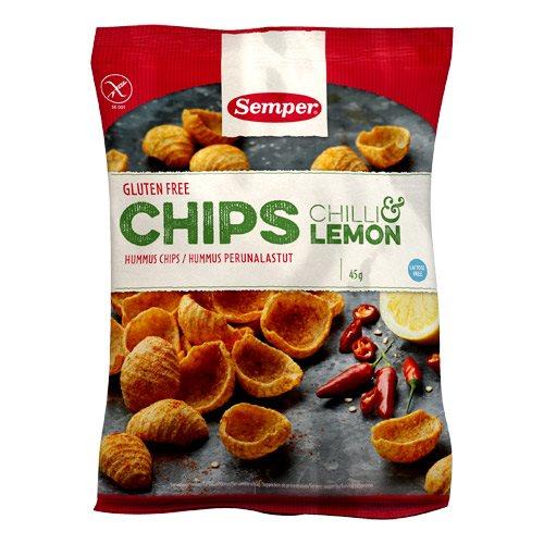 Image of Chips med chili & lemon glutenfri fra Semper 45 gr