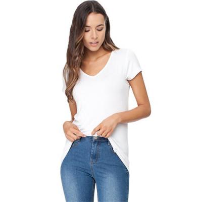 T-Shirt V-hals Dame Hvid Str. S