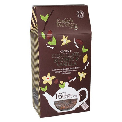 English Tea Shop Chocolate, roibos, vanila tea Ø Silken pyramid infuser