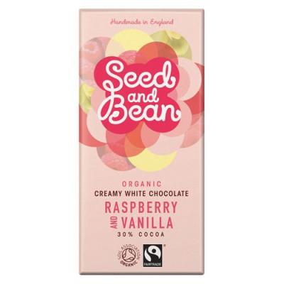 Hvid Chokolade Hindbær & Vanille Ø Seed & Bean 85g