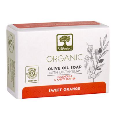 Bioselect Pure Olive Oil Soap Håndsæbe med Morgenfrue og Sheasmør (80 gr)