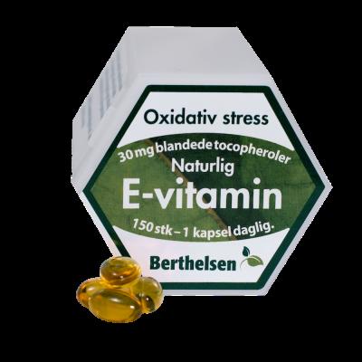 Berthelsen E-vitamin 30 mg (150 kapsler)