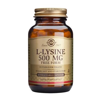 L-Lysin aminosyrer 500 mg. fra Solgar - 50 kapsler
