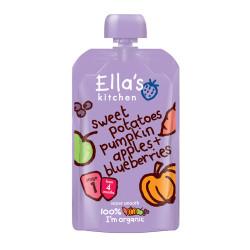 Ellas Kitchen Babymos Kartoffel/Græskar æble/Blåbær Ø 4 Mdr (120 gr)