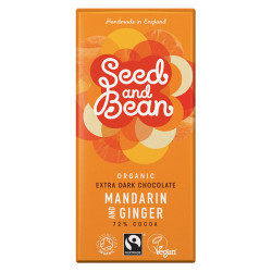 Mørk chokolade 72% m.mandarin og ginger Ø 85 gr.