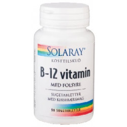 Solaray B-12 vitamin med folsyre (90 tabletter)