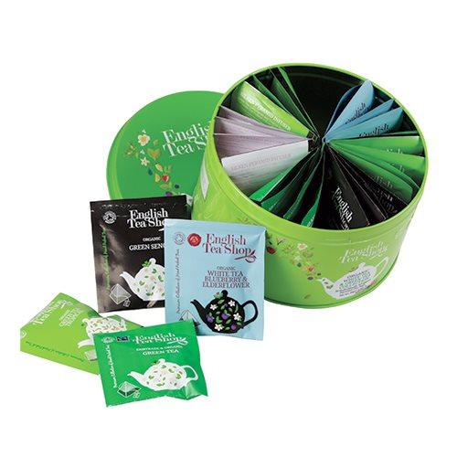 Image of Dåse med blandet grøn & hvid øko-te ETS - 30 breve