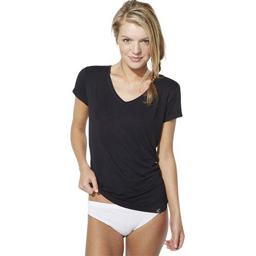 T-Shirt V-hals Dame Sort Str. M