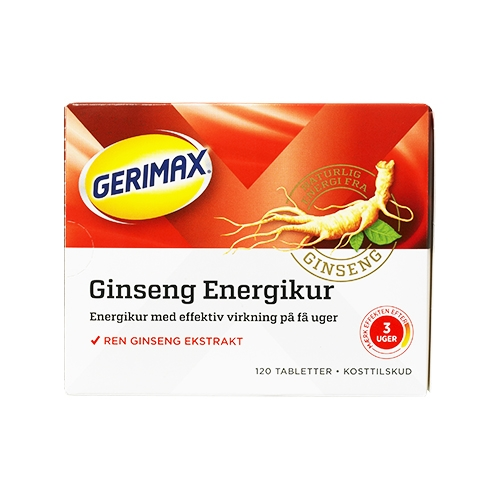 Image of   Gerimax Ginseng Energikur - 120 tabletter