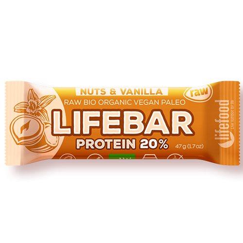 Image of   LifeFood LifeBar Nødder Vanilje Proteinbar Ø (47 g)