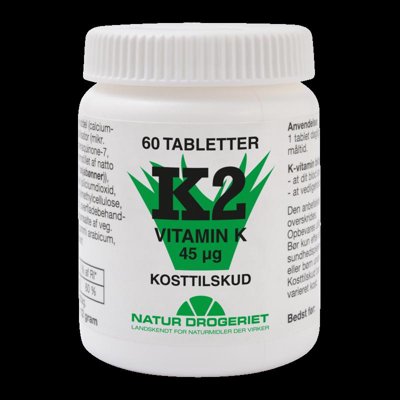 K2-vitamin fra Natur Drogeriet 45 ug - 60 kapsler