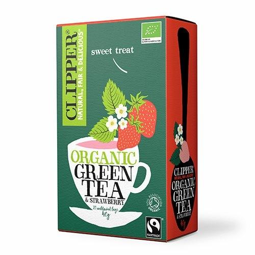 Clipper Grøn te med Jordbær Økologisk - 20 breve