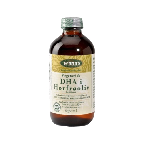 Hørfrøolie med vegetarisk DHA - 250 ml.