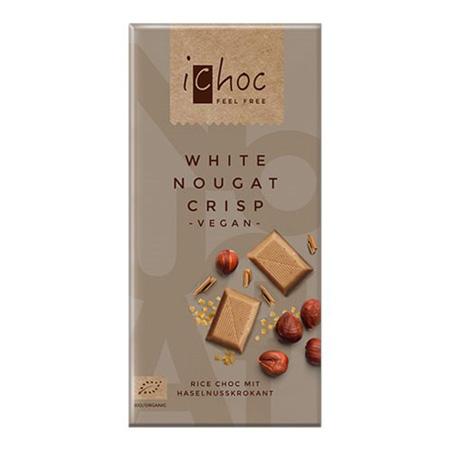 Image of Ichok white nougat crisp vegansk øko chokolade 80g