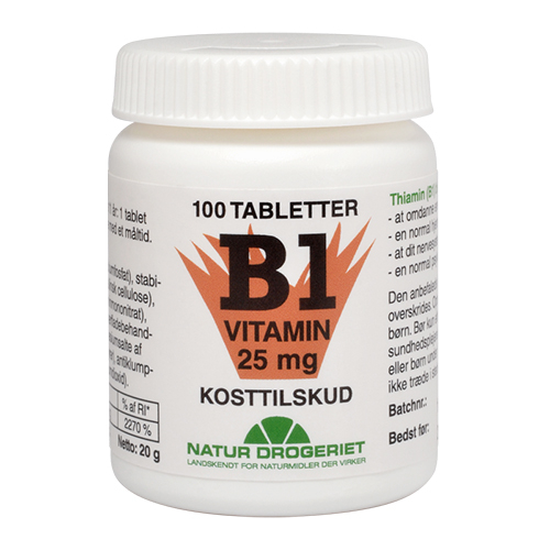 Image of   B1 vitamin 25 mg - 100 tabletter