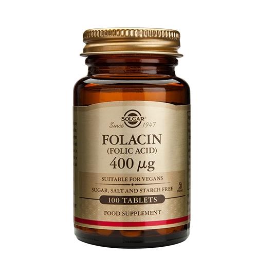 Image of   Folsyre 400 mcg (Folacin) Solgar - 100 tabletter